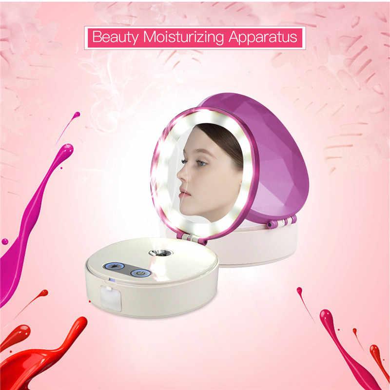 25 600mlmini ננו ערפל מרסס פנים גוף Nebulizer Steamer לחות טיפוח עור עם LED אור קוסמטי איפור מראה