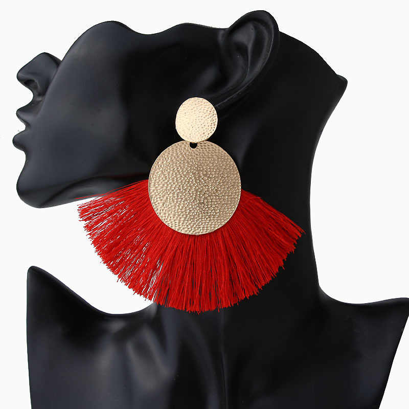 LATS Big Tassel Drop Earrings for Women Fashion Statement Bohemian Handmade Brincos Fringe Earring Za 2019 Pendientes Jewelry