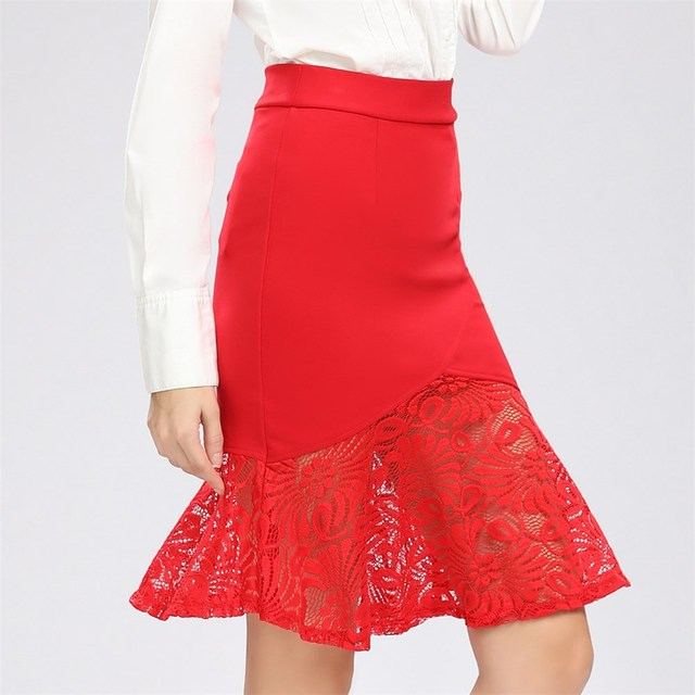 US $12.88 |Business Wear Ruffles Hem Mermaid Style Plus Size Office Lace  Skirts Women Pencil Skirt Plus Size S 5XL-in Skirts from Women\'s Clothing  on ...