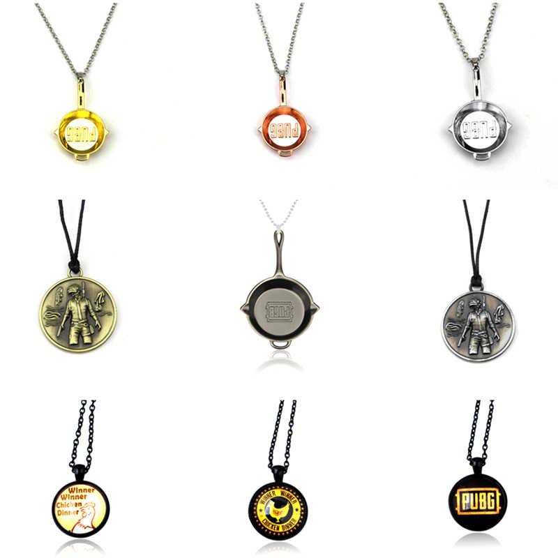 Hot Game Playerunknown's Battlegrounds Pendant Necklace PUBG Hemlet Pan Weapon Statement Necklace Jewelry Graduation Gift