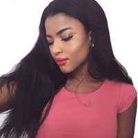 AliBlissWig Kinky Straight 360 Lace Frontal Wigs For African Americans Right Side 150 Density Brazilian Remy