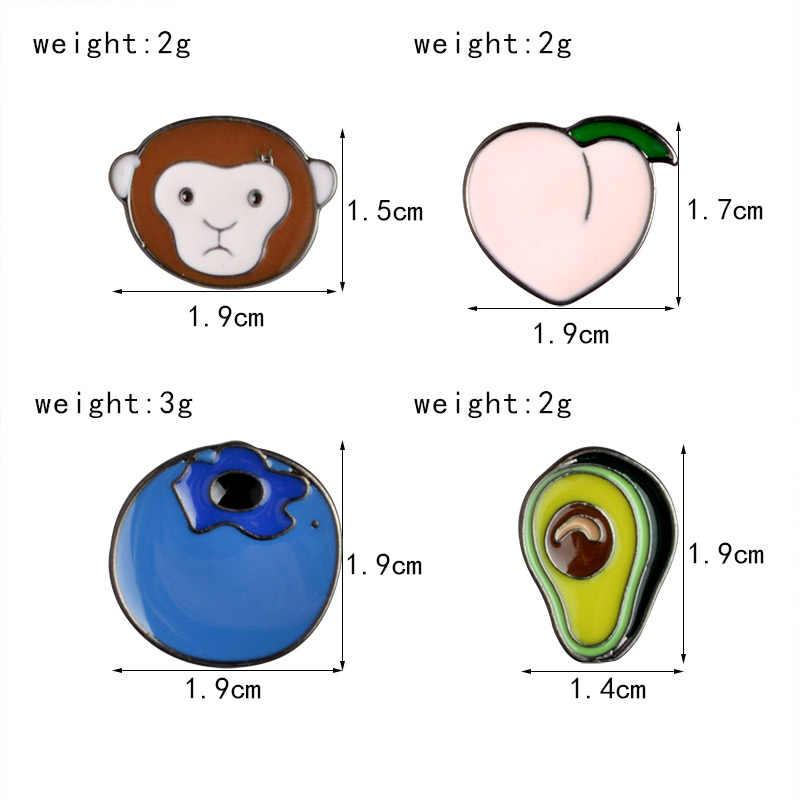 QIHE ювелирные изделия авокадо обезьяна персик черника металлические значки твердая Эмаль Булавка симпатичный значок модные ювелирные изделия