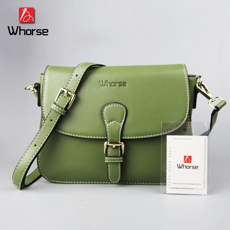 [WHORSE] 2017 Fashion Women Messenger Bags Small Cowhide Genuine Leather Crossbody Female Shoulder Bag For Women Ladies Handbags