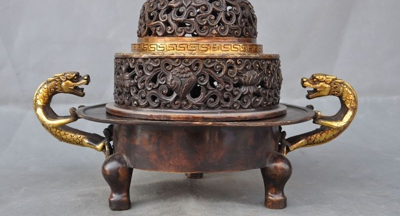 Marked China Bronze Gilt Dragon Dragons Lion Beast incense burner Censer statue