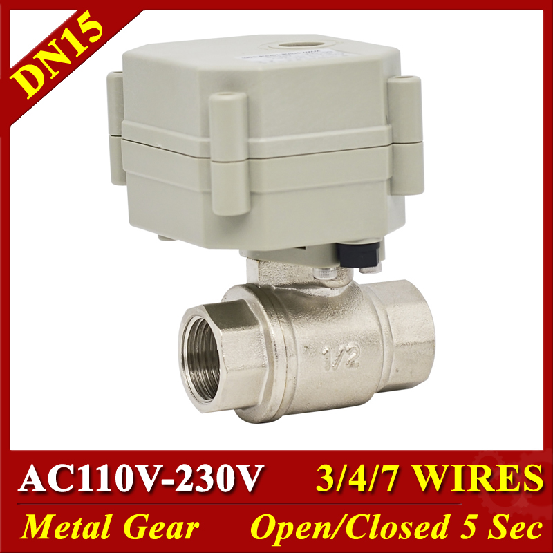 Metal Gear 2 Way Electric Water Valves SS304 DN15 1 2 TF15 S2 C AC110 230V