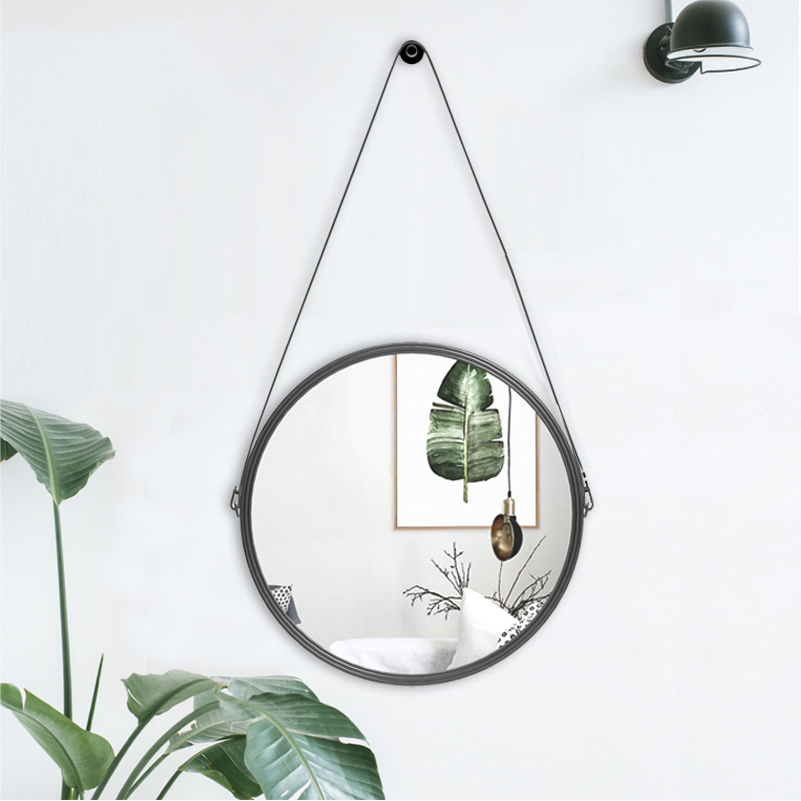 PU Leather Round Wall Mirror Decorative Mirror with Hanging Strap Including Hook/Hanger, Diameter 11.8 inch, Home DecorPU Leather Round Wall Mirror Decorative Mirror with Hanging Strap Including Hook/Hanger, Diameter 11.8 inch, Home Decor