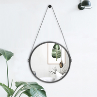 PU Leather Round Wall Mirror Decorative Mirror with Hanging Strap Including Hook/Hanger, Diameter 11.8 inch, Home Decor