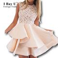 I Bay U Sexy White Lace Boat Neck Ruffle Skirt Pink Party Gown 2016 New Arrival Vestido Social Ball Gown Short Cocktail Dresses