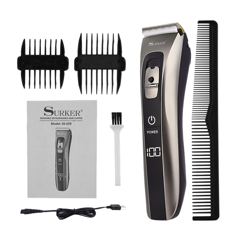 Offre spéciale Surker Sk-629 professionnel tondeuse à cheveux électrique tondeuse à cheveux Rechargeable Machine de coupe de cheveux étanche Fo