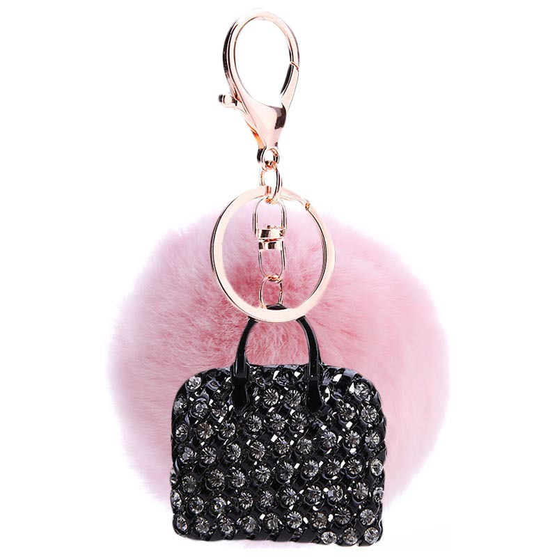 Newest Black Handbag Pendant Charm Decorted ZInc Alloy Lobster Clasp KeyChians Lady Fashion Round Fur Ball keyring Key Ring