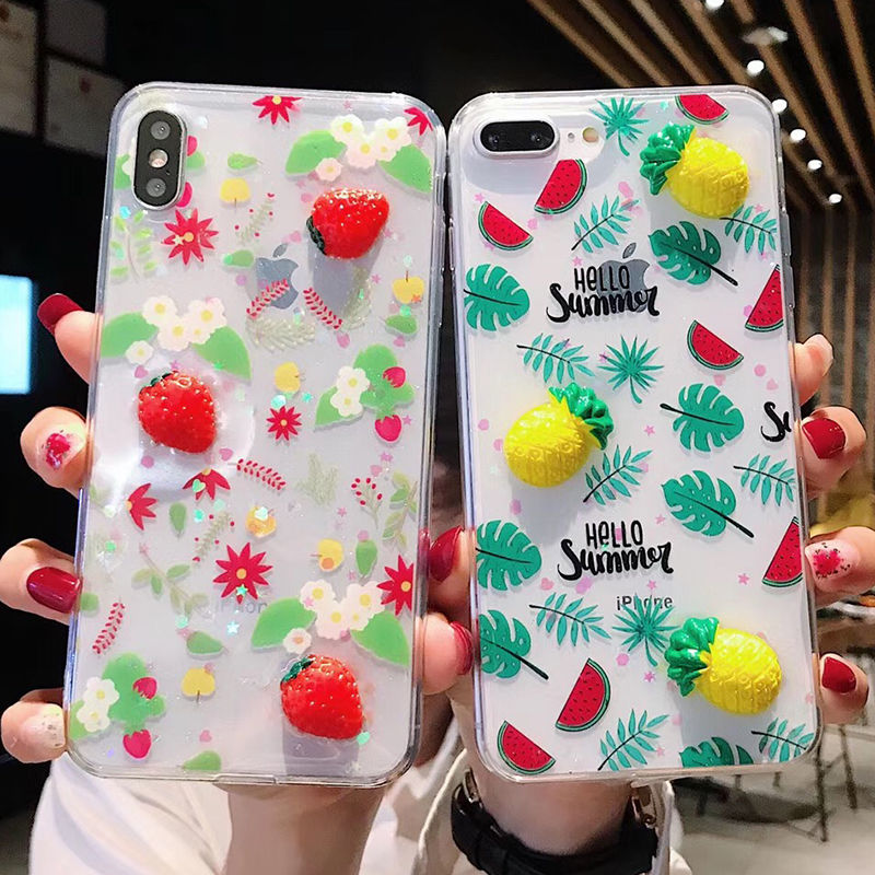 TIKITAKA Summer Fruit Pineapple strawberry Phone Cases For iPhone XR XS Max X 6 6S 7 8 Plus Soft TPU Leaf Clear Back Cover Capa