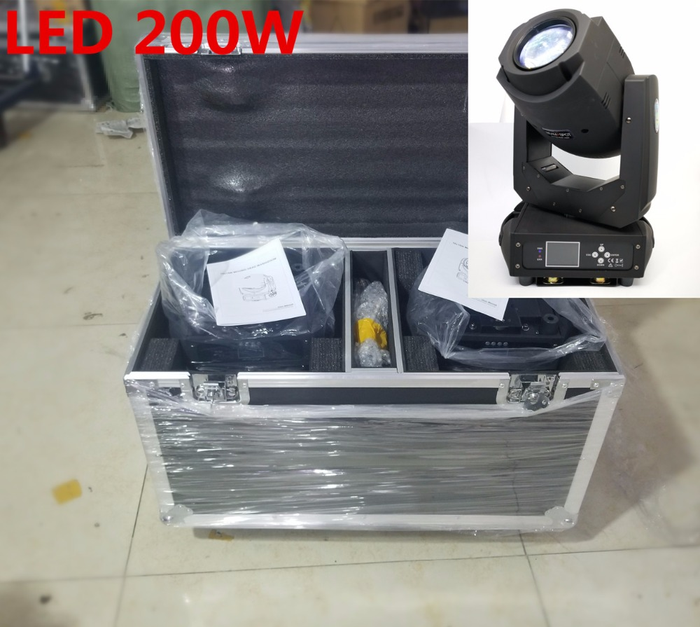 2pcs/lot 200W with  flight case LED Beam+spot 2in1 200W LED Moving Head Lights   6 Rotating Gobos and 8 Static Gobos zoom light