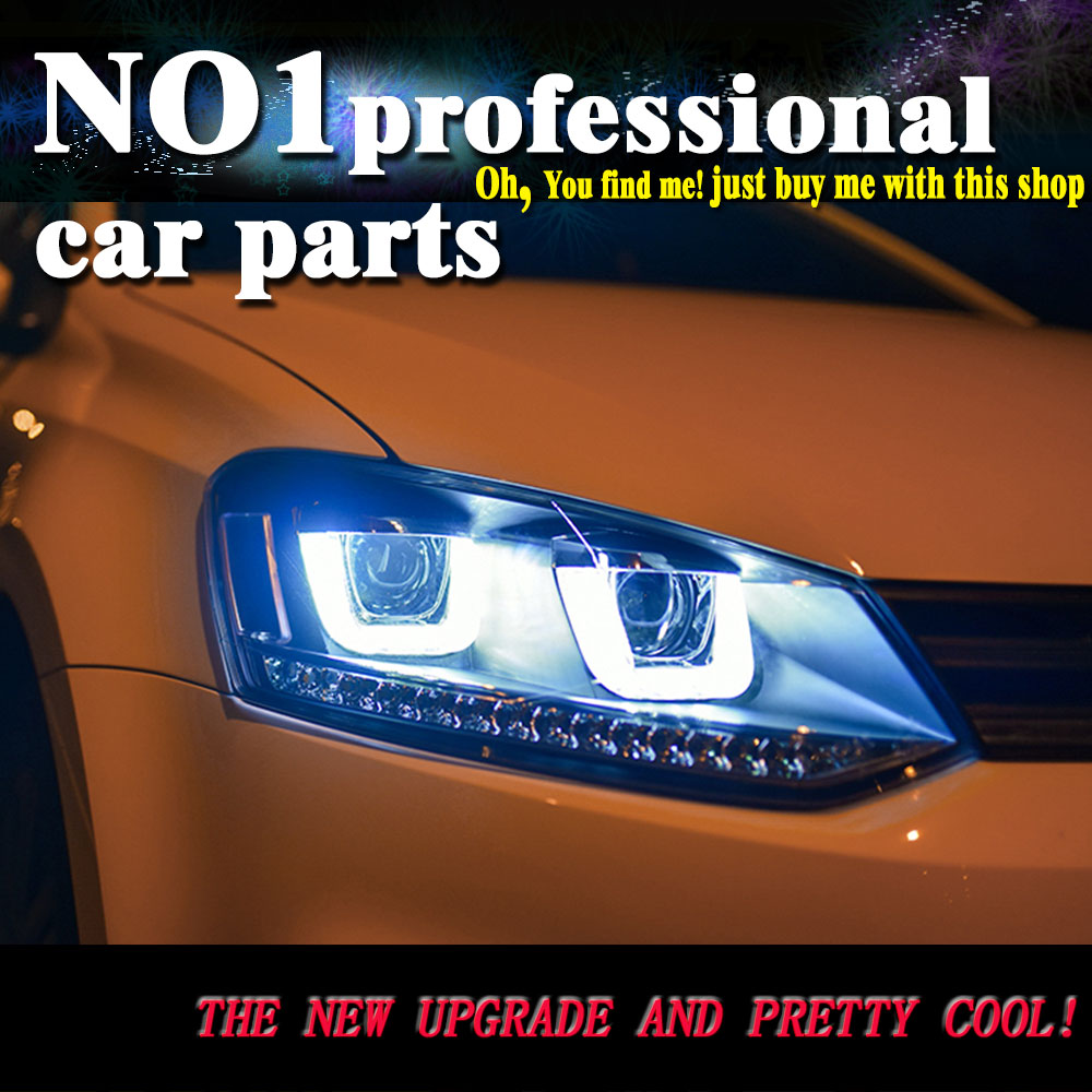 Car Styling 2008 2015 For VW POLO headlights led  head lamp DRL front Bi-Xenon Lens Double Beam HID KIT