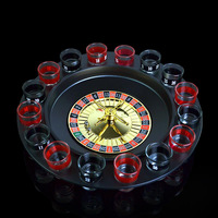 Creative Russia Drinking Turntable Shot Glass Roulette Set Novelty Drinking Game With 16 Shot Glasses Party