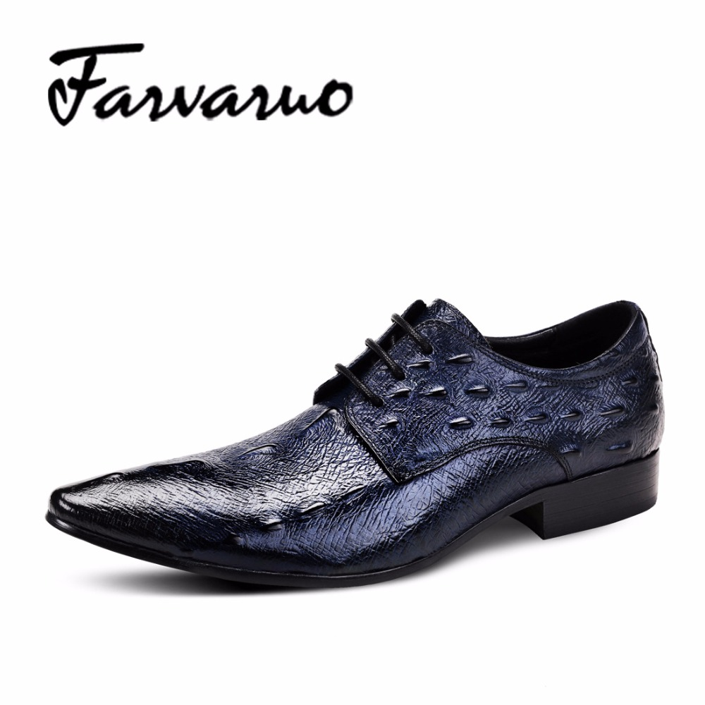 Farvarwo Mens Leather Formal Derby Shoes Men Crocodile Casual Dress Shoes 2018 Spring Retro Lace-up Luxury Brand Business Oxford z suo men s shoes the new spring and autumn ankle leather casual shoes fashion retro rubber sole lace mens shoes zsgty16066