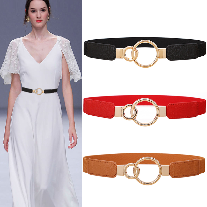 Women Thin Elastic Waistbands Dress Belt Accessories Stretch Corset Waist HOT Gold Circle Alloy Metal Buckle Cummerbunds Wedding