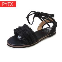 2019 summer new Korean womens fashion simple strap tassel flat sandals black classic leisure Roman style durability No fading