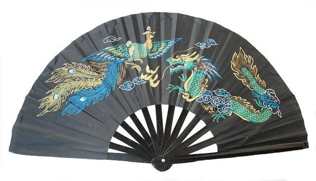 Высокое качество китайский традиционный бамбук/пластик TaiChi вентилятор боевые искусства двойной дракон Кунг Фу Taiji веер для танцев Бесплатная доставка