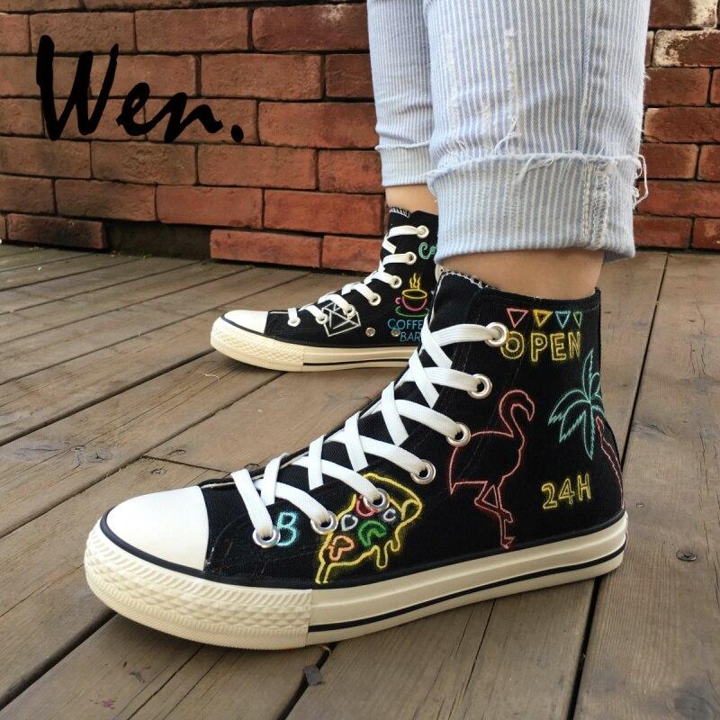 Wen Design noir peint à la main chaussures néon types de modèles personnalisé toile Sneaker haut appartements unisexe cadeaux
