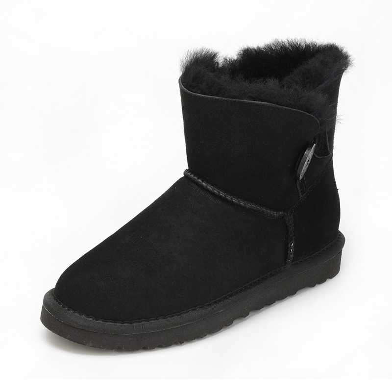 Australia Natural sheep fur one snow boots female buckle with winter flat bottomed warm short boots, free shipping ubz australia natural sheepskin fur snow boots female winter botas mujer warm flat heel bandage boots calf height free shipping