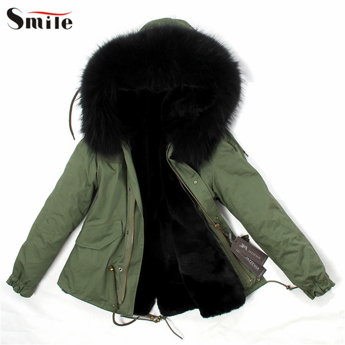 Womens hooded parka with faux fur
