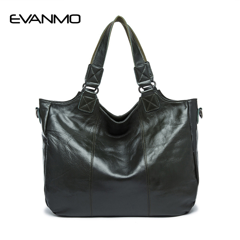 Popular Big Bag Women Genuine Leather Handbag Fashion Solid Color Cowhide Shoulder Bag Large Casual Tote Lady Bag Blackish Green handbag 2017 new hot bag popular style leather bag of popular fashionable leather bag with large capacity