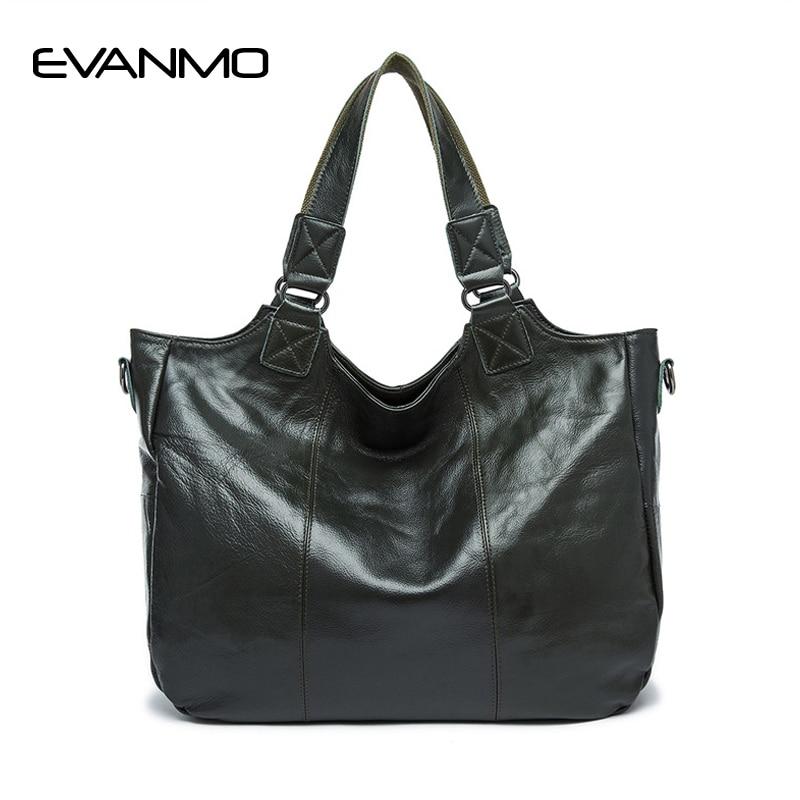 Popular Big Bag Women Genuine Leather Handbag Fashion Solid Color Cowhide Shoulder Bag Large Casual Tote Lady Bag Blackish Green