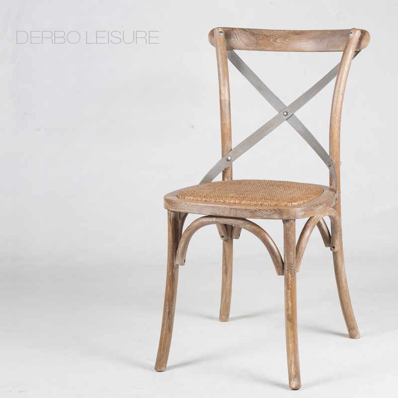 Modern classic famous Design loft fashion antique American country style solid wooden cross back dining side chair furniture 1PC