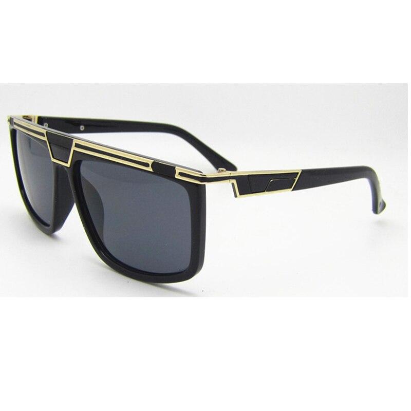 New Fashion Science Fantasy Sunglasses For Women Men Vintage Big Square Frame Shade Sun Glasses Metal Stripe Design L3