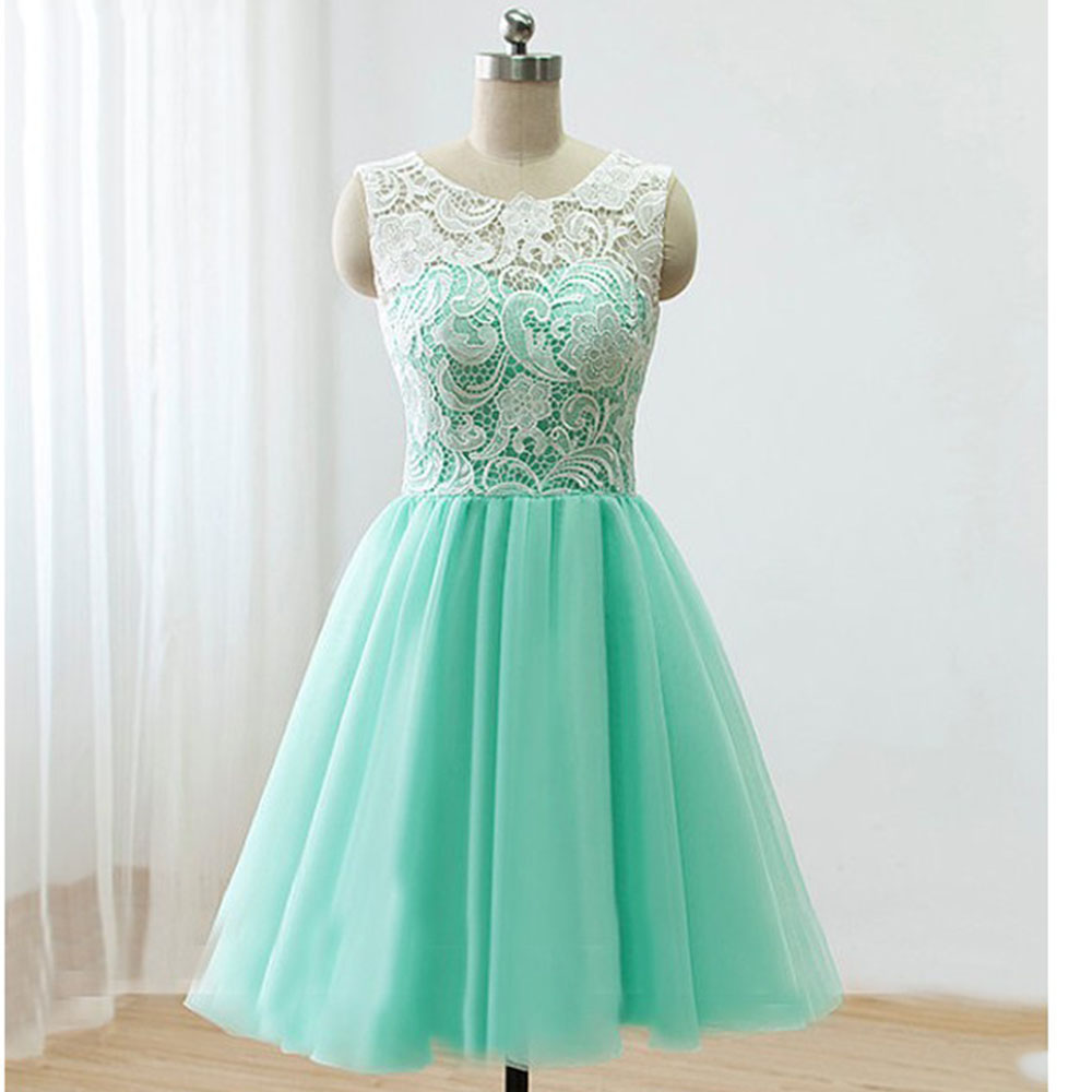 Cute Mint Green Lace Tulle Back Buttons Knee Length Prom