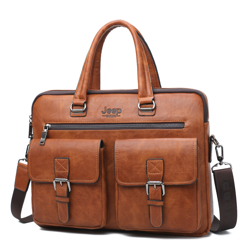 f525bc25fb Generic JEEP BULUO Men Briefcase Bag For 13'3 inch Laptop Business Bags  2Pcs Set Handbags High Quality Leather Office Shoulder Bags Tote(Orange  8001-3)