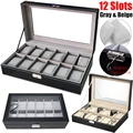 12 ячеек  футляр для часов из искусственной кожи  профессиональный держатель  органайзер для часов  витрины для ювелирных изделий  стеклянны...
