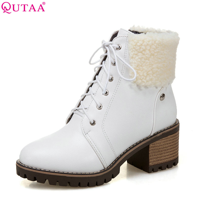 QUTAA 2018 New Women Ankle Boots Zipper Design Pu Leather Square High Heel Lace Up Fashion Round Toe Women Boots Size 34-43