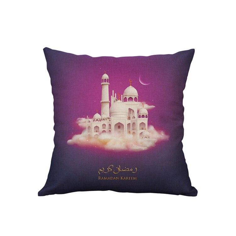 LAPHIL 45x45cm Eid Mubarak Cushion Cover Ramadan Mubarak Decoration Home Islamic Muslim Party Favors Happy Eid Party Supplies