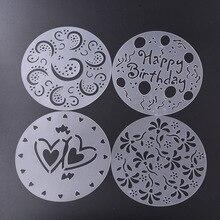 Eco Friendly High Quality 4 Styles Flower Heart Spray Stencils Birthday Cake Mold Decorating Bakery Tools