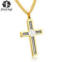 Jiayiqi Punk Cross Necklace For Men Stainless Steel Wire Pendant Necklace Jewelry Silver Black Gold Color