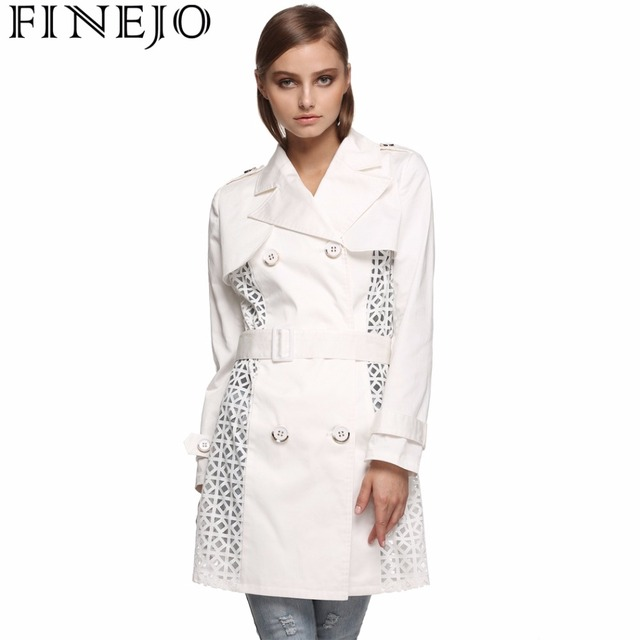 FINEJO Spring Coat Solid Long Double-Breasted Trench Coat for Women Fashion Gabardina Mujer Trench with Belt Plus Size S-XXL
