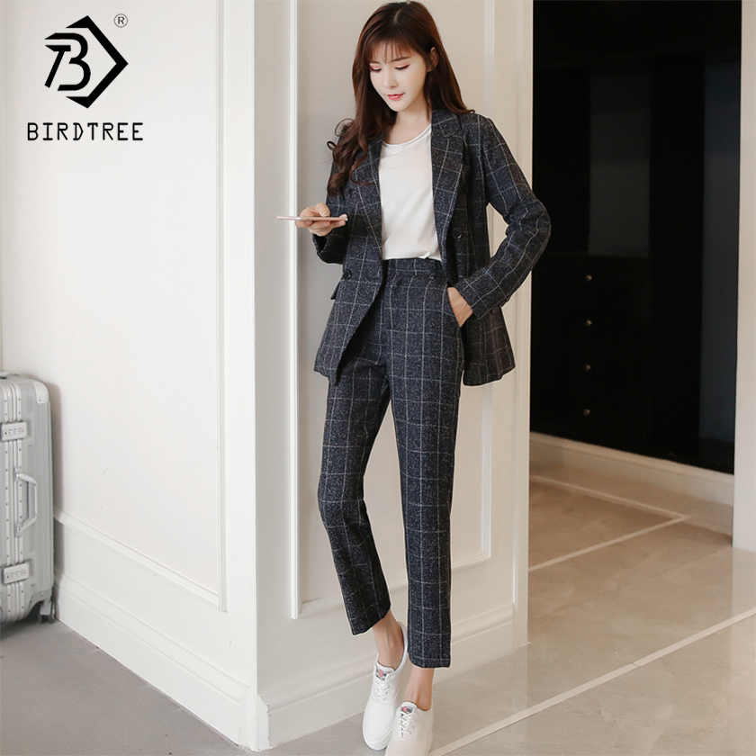 New Autumn Winter Women's Classic Pants Suits Fashion Striped Turn-down Collar Tops And Casual Pants Two Piece Sets S99021L 1