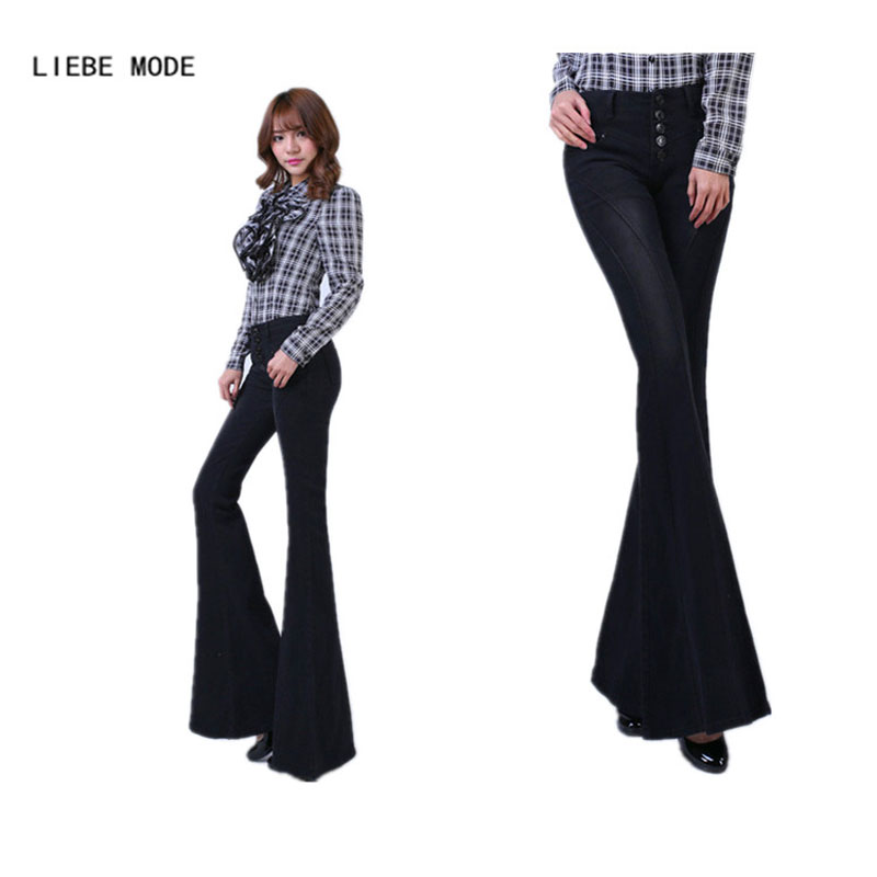 Woman High Waist Flare Jeans Pants Black Sexy Ladies' Wide Leg Denim Pants Plus Size Women Jeans Femme 2016 physics education