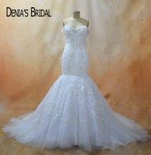 Кружевное свадебное платье с юбкой годе, без рукавов, со шлейфом