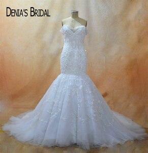 Image 1 - Кружевное свадебное платье с юбкой годе, без рукавов, со шлейфом