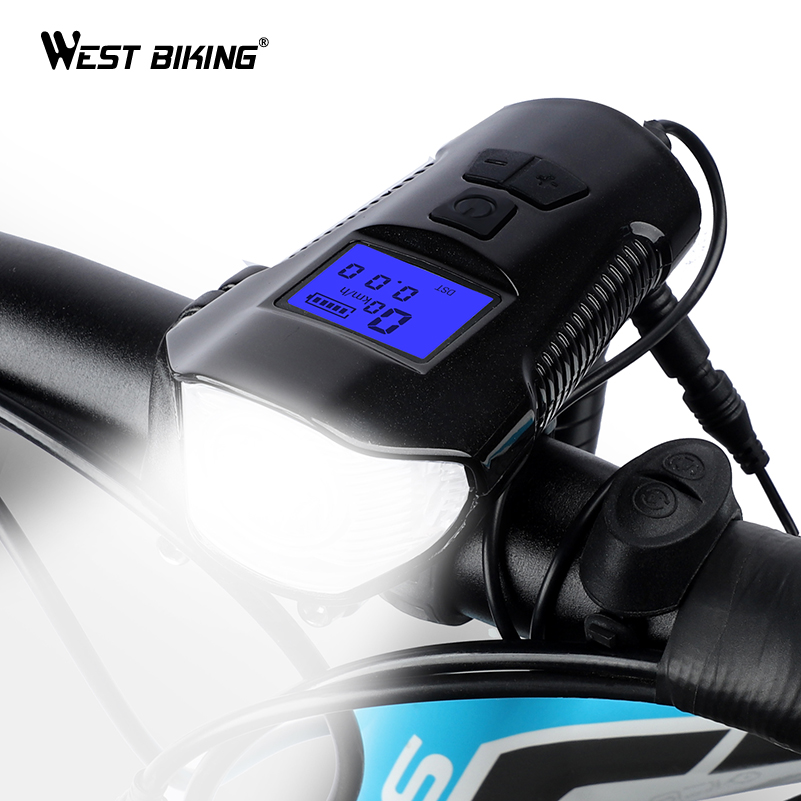 WEST BIKING Multifunctional Bicycle Light USB Rechargeable Bike Computer With Electric Horn Bell Handlebar Cycling Headlight smart bike bell with headlights waterproof bike light rechargeable riding cycling led light new air horn bicycle accessories