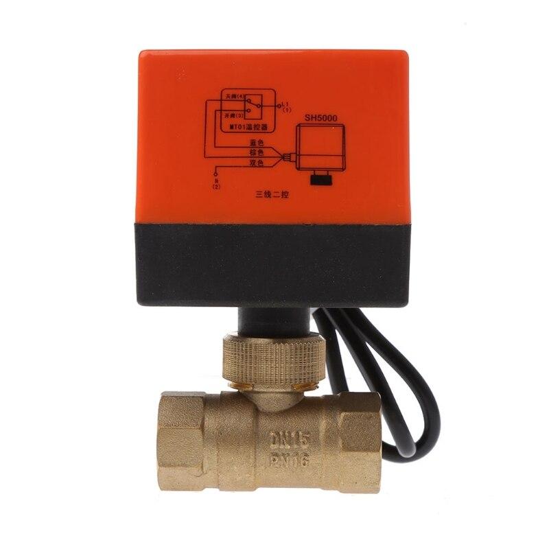 Électrique En Laiton Motorisé Ball Valve DN25 DN20 DN15 AC 220 V 2 Voies Fils avec Actionneur