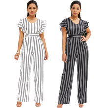 New summer fashion ruffled ladies jumpsuit black and white striped loose pants shorts sexy wide leg casual high waist jumpsuit цена в Москве и Питере