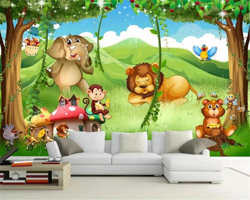 Beibehang Kustom Latar Belakang Taman Kanak Kanak Lukisan Dinding Wallpaper Fantasi Jerapah Singa Hutan Hewan Gambar Kartun Ruang 3d Wallpaper Wallpaper Aliexpress