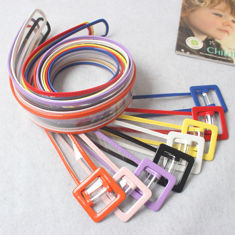 HUOBAO Women Waist Belt Resin Transparent Long Belt Dress Band Belt Square Buckle Candy Colors Leather Strap