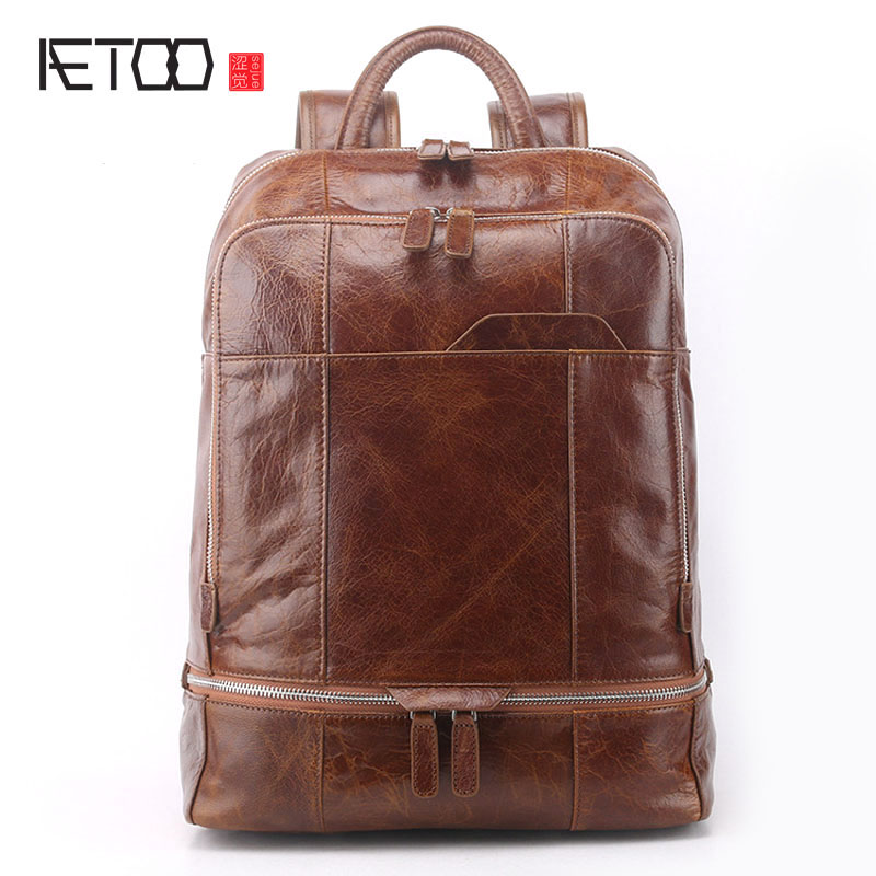 AETOO New leather men backpack large genuine leather travel large capacity first layer leather shoulder bag
