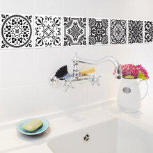Tile Sticker Bathroom Decor Black and White Stickers Wall Decals Home Kitchen Decoration Waterproof PVC Wallpaper Art