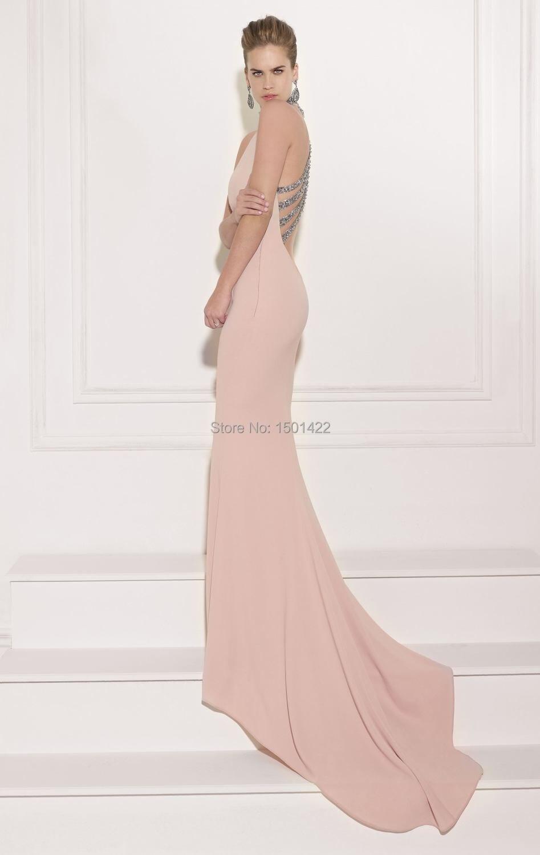 2015 de color rosa pálido Formal vestido de noche de lentejuelas ...