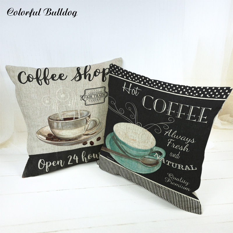 Hand Paint Handmade Vintage Shabby Chic Wood Coffee Cup Cushion Case For Sofa Car Seat Linen Houseware Decor Throw Pillow Cover